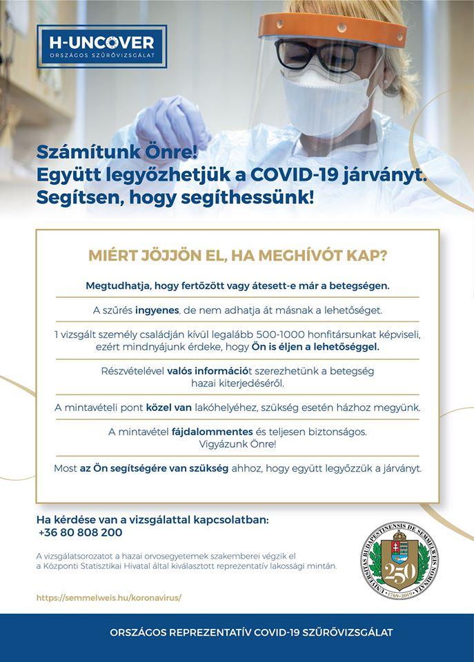 Kiegészítő információk a H-UNCOVER lakossági vírusszűrésről