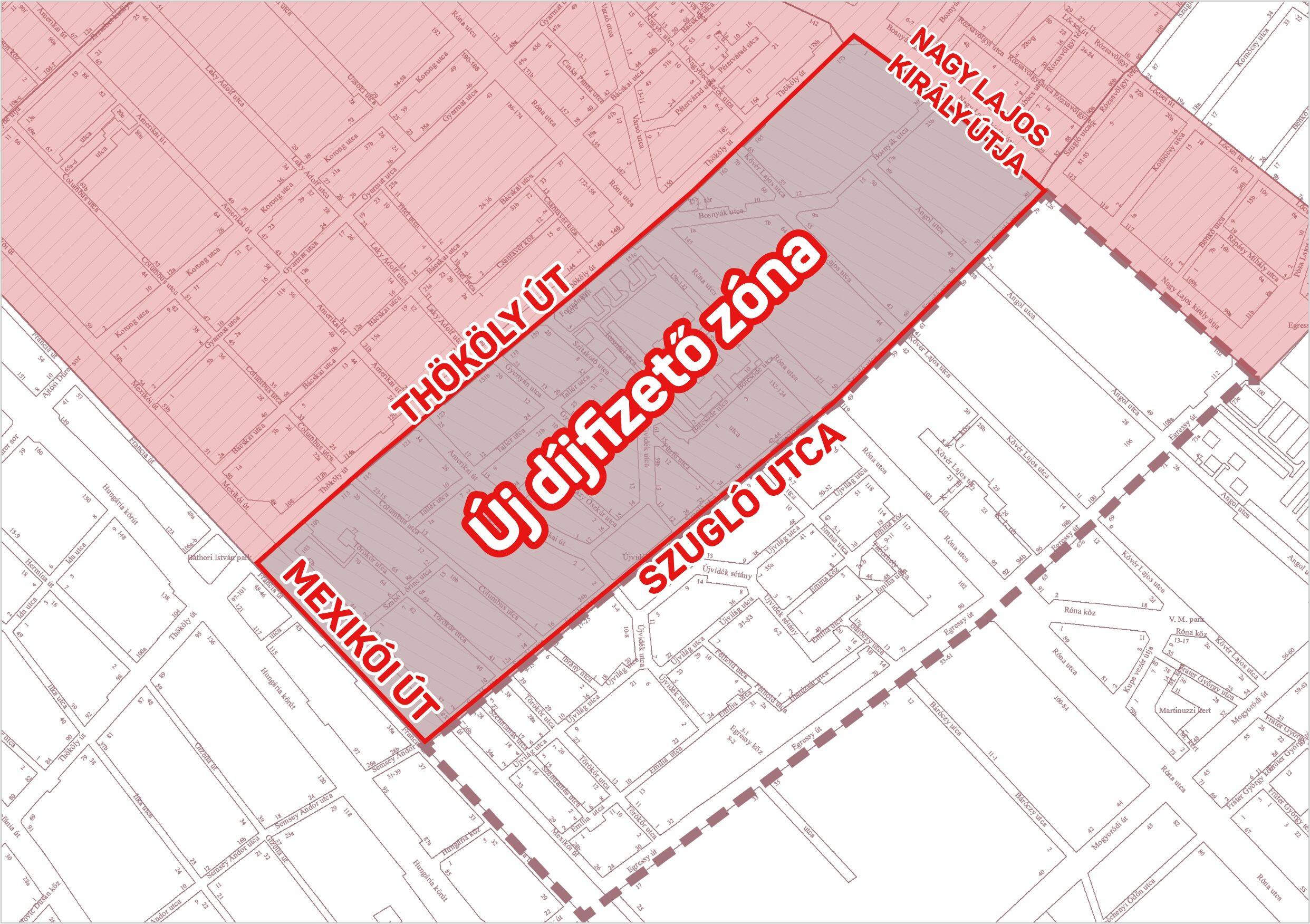 Illusztráció - bővül a fizetős zóna - térkép