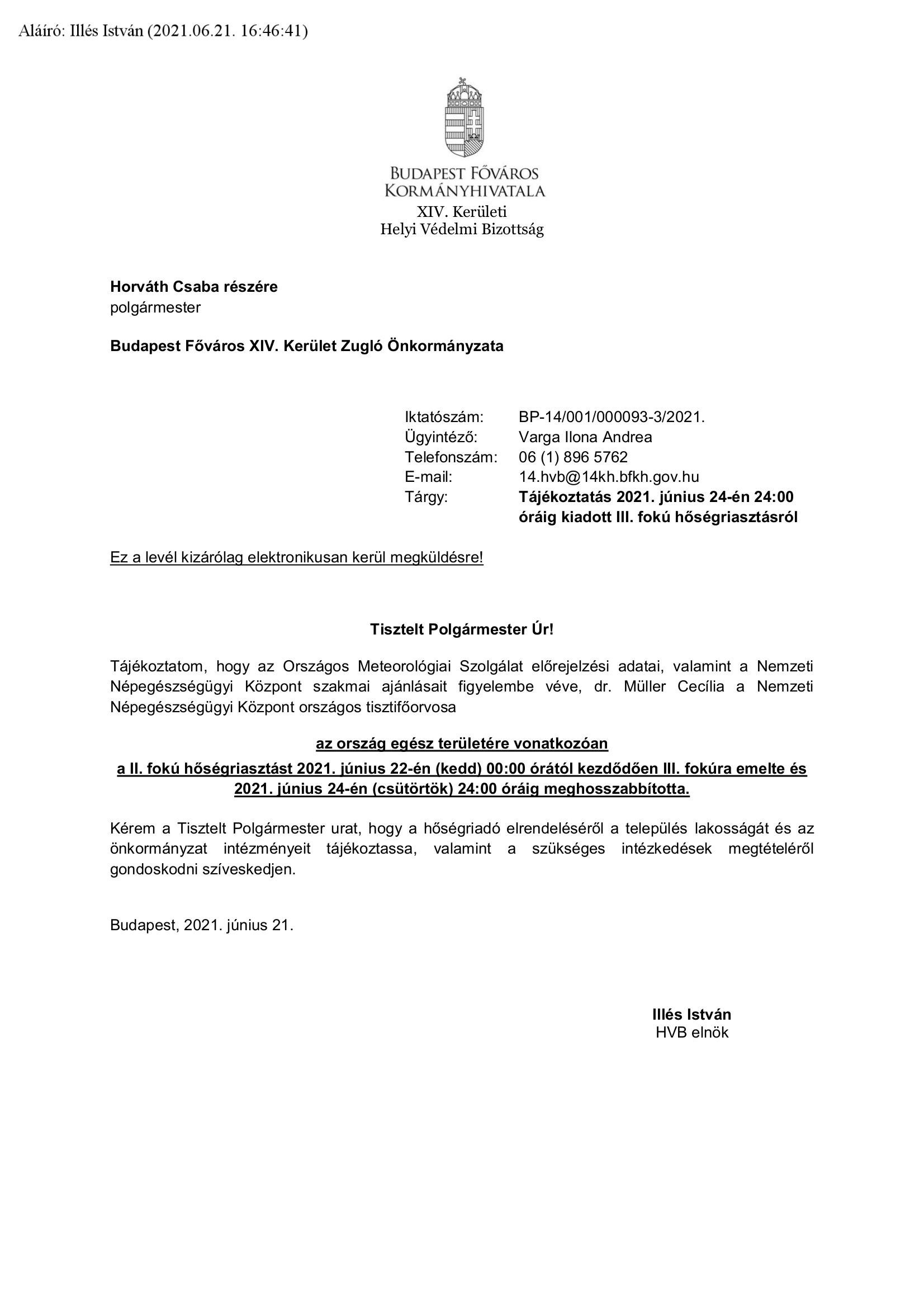 Tájékoztató levél - fotó