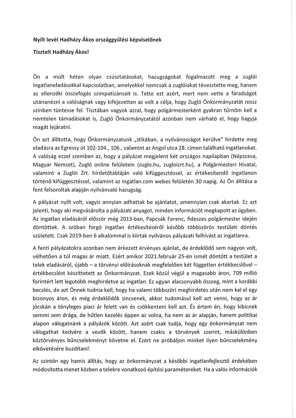 Hadházy Ákos nyílt levél
